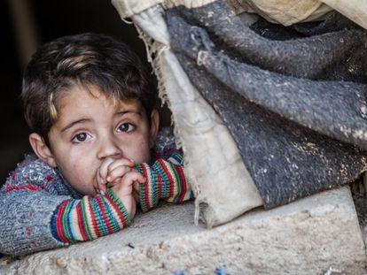 Irak, febrero de 2014. Hakim (nombre ficticio), de tres años, asoma por una carpa gastada en el campo de refugiados de Domiz, en el norte de Irak.