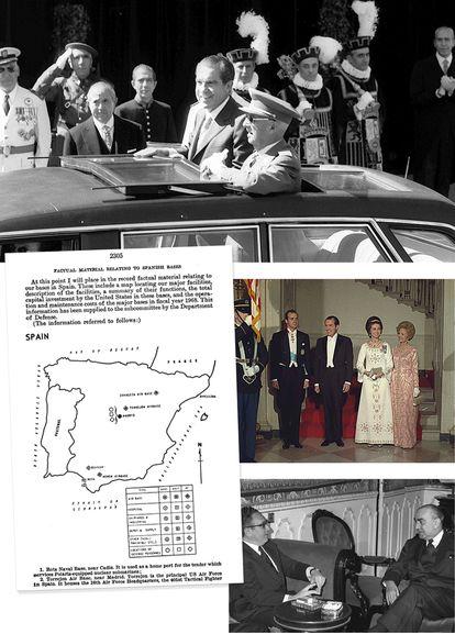 Arriba, Francisco Franco y Richard Nixon en Madrid, durante la visita del presidente de EE UU a España en 1970. Debajo, a la derecha, Nixon y su esposa en la Casa Blanca, junto a los entonces príncipes de España Juan Carlos y Sofía durante la visita de estos a Washington a primeros de 1971. Debajo, el secretario de Estado Henry Kissinger y el presidente del Gobierno de España Luis Carrero Blanco en Madrid en diciembre de 1973. Y a la izquierda, esquema de las bases militares estadounidenses en España recogido en las actas del Congreso de EE UU en 1970.