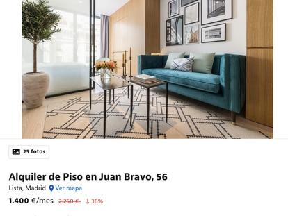 """Uno de los inmuebles de Madrid que ha bajado el precio durante el estado de alarma. """"A partir del 1 de septiembre el precio pasa de nuevo a ser de 2.250 al mes"""", indicaba este anuncio disponible este martes en Idealista."""