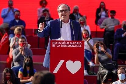 Ángel Gabilondo, durante el cierre de campaña.