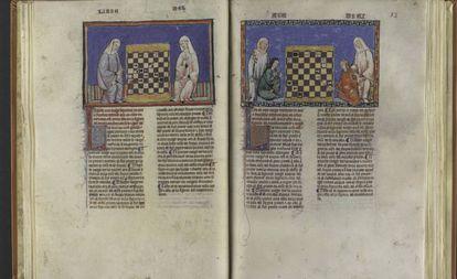 El libro 'Juegos diversos de axedrez, dados y tablas' (1283), escrito por Alfonso X el Sabio, que se conserva en la Real Biblioteca de El Escorial