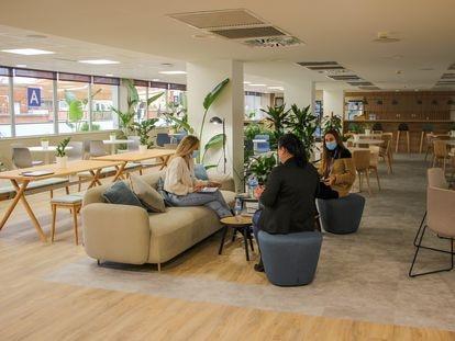Muchas compañías crean espacios de 'coworking' en sus nuevas sedes corporativas, como ha hecho Danone en Barcelona.