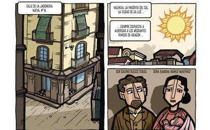 Viñetas de 'Vicente Blasco Ibáñez, una vida apasionante'.