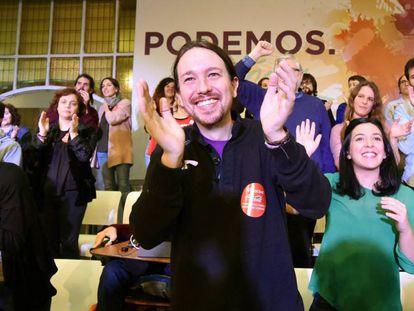 El líder de Podemos, Pablo Iglesias, durante el acto Podemos para todas.