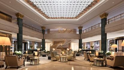 Recreación del 'lobby' del hotel.