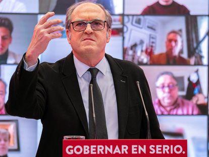 El candidato socialista para la presidencia de la Comunidad de Madrid, Ángel Gabilondo durante la presentación de su candidatura en un acto celebrado este sábado en Madrid.
