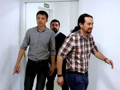 De izquierda a derecha, Errejón, Espinar e Iglesias.