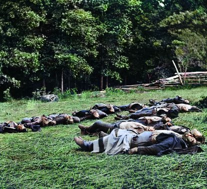 Fallen soldiers on the Gettysburg battlefield, in a digitally colored photo from the book 'The Color of Time'.