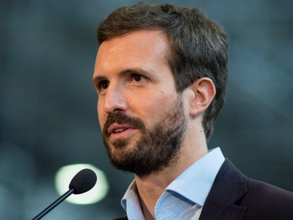 El presidente del Partido Popular, Pablo Casado, en Ourense.