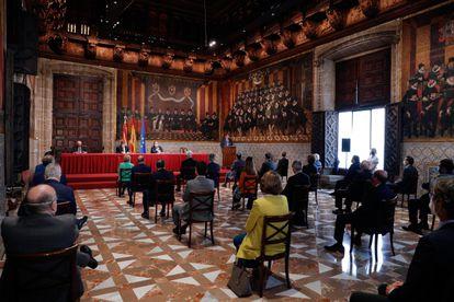 Ceremonia en la que este martes se han fallado los premios Rey Jaime I en el Palau de la Generalitat.