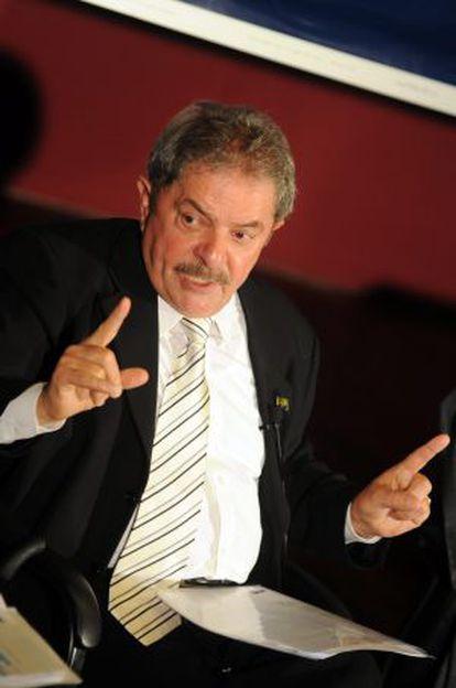 Lula, este jueves en un acto en Montevideo.