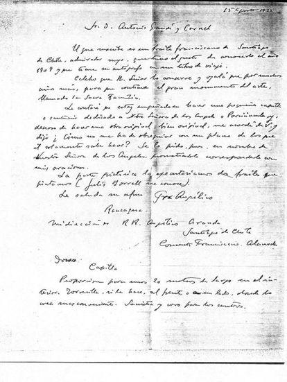 Carta de Aranda a Gaudí de agosto de 1922.