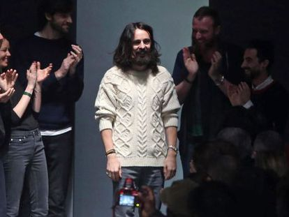 Alessandro Michele tras presentar su colección otoño-invierno de Gucci.