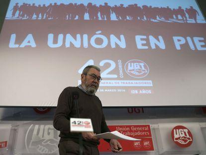 El secretario general de UGT, Cándido Méndez, en la presentación del XLII  Congreso Confederal