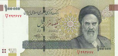 Billete de 100.000 riales de Irán.