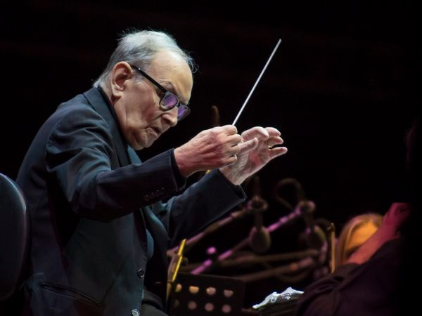 LUCCA, ITALY - JULY 09:  Ennio Morricone performs on stage during Lucca Summer Festival 2017 on July 9, 2017 in Lucca, Italy.  (Photo by Francesco Prandoni/Redferns)