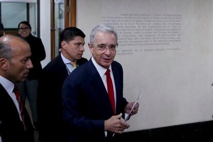 Álvaro Uribe a su llegada a la Corte Suprema de Justicia, el 8 de octubre de 2019.