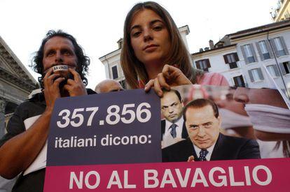 Protesta en Roma contra la 'Ley Mordaza'