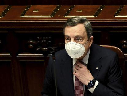 El primer ministro italiano, Mario Draghi, durante su comparecencia el lunes en la Cámara de Diputados.