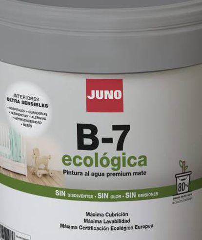 Pictograma que indica el porcentaje de material reciclado en la fabricación de un cubo de pintura de Industrias Juno.