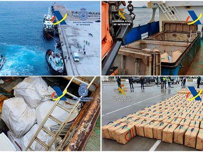 Imágenes de la operación en la que se han intervenido 7.000 kilos de hachís en alta mar.