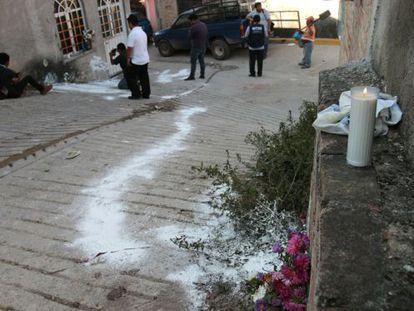 La calle donde murieron cuatro policías comunitarios, en Tixtla
