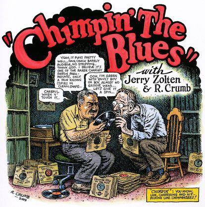 'Chimpin The Blues', dibujo de Robert Crumb sobre pizarras.