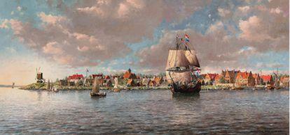 El primer asentamiento europeo en Manhattan se ubicó en la punta del sur de la isla, sobre el actual distrito financiero de Wall Street, como una pequeña comunidad comercial, tal como recrea el pintor neoyorquino Len Tantillo en la pintura <i>Manhattan, 1660.</i>