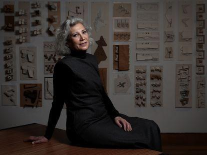 La arquitecta Carme Pinos, el miércoles en su exposición 'Escenarios para la vida' en la Fundación ICO en Madrid.