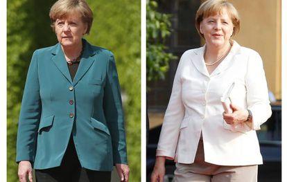 Angela Merkel, a la izquierda con su nueva silueta, y antes de adelgazar.