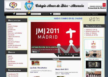 Web del colegio Amor de Dios de Alcorcón, condenado por acoso.