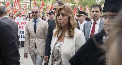 Susana Díaz, a su llegada a la Universidad de Jaén.