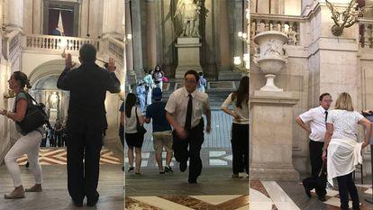 Desde la izquierda, un trabajador de Integra en la escalera principal del Palacio Real a las 10.30, las 13.28 y las 19.42.