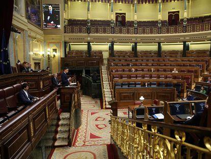El presidente del Gobierno, Pedro Sánchez, durante su comparecencia este miércoles en el Congreso de los Diputados.
