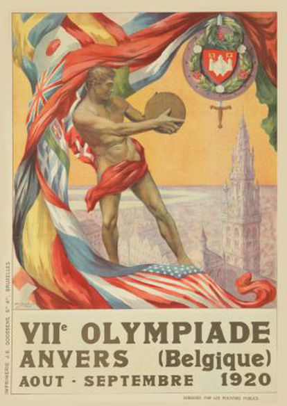 Cartel de los Juegos Olímpicos de Amberes 1920.