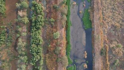 Imagen aérea de los humedales de la zona norte de Xochimilco, al sur de Ciudad de México, declarados Área Natural Protegida y Patrimonio de la Humanidad.