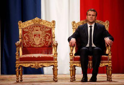 Emmanuel Macron en su toma de posesión como presidente de la República en mayo 2017.
