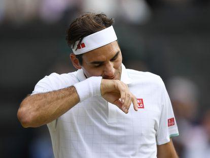 Federer, la semana pasada durante un partido en la central de Wimbledon.