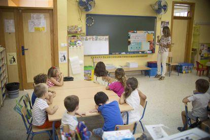Alumnos del colegio de educación de infantil y primaria Jacarandá, en Sevilla.