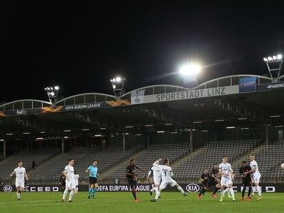 El LASK-Manchester United de Liga Europa jugado este jueves.