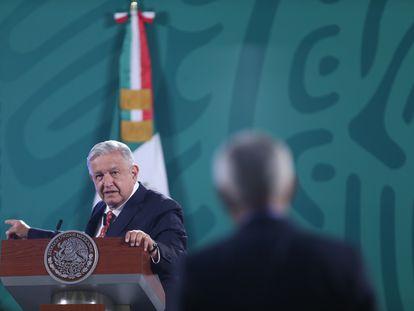 El presidente de México, Andrés Manuel López Obrador, durante su rueda de prensa matutina.