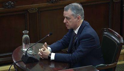 En lendakari Iñigo Urkullo durante su declaración en el Tribunal Supremo