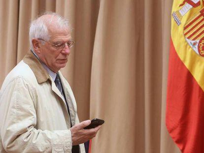 El ministro de Asuntos Exteriores, Josep Borrell en la Comision de Cooperacion Internacional en el Congreso de los Diputados.