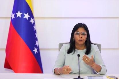 La vicepresidenta de Venezuela, Delcy Rodríguez, en conferencia de prensa el 7 de abril en Caracas.
