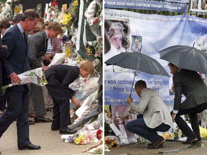 A la izquierda: El príncipe Carlos, con sus hijos Guillermo y Enrique, deposita flores en la entrada del palacio de Kensington tras la muerte de la princesa Diana, el 5 de septiembre de 1997. A la derecha: El príncipe Guillermo y el príncipe Enrique repiten el homenaje 20 años después de la muerte de su madre, el 30 de agosto de 2017.