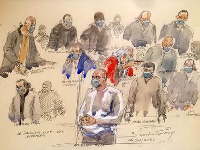 Ilustración realizada en noviembre de los presentes en el juicio por los crímenes cometidos en la redacción de 'Charlie Hebdo' y el supermercado Hyper Cacher.