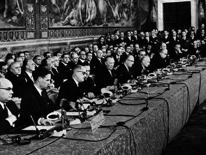 Firma del Tratado de Roma, el 25 de marzo de 1957.