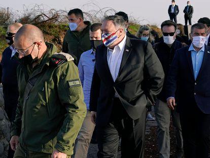 El secretario de Estado de EE UU, Mike Pompeo, el jueves en los Altos del Golán.