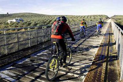 Ciclistas en la antigua vía del Tren del Aceite, en Jaén, hoy convertida en la vía verde del Aceite.