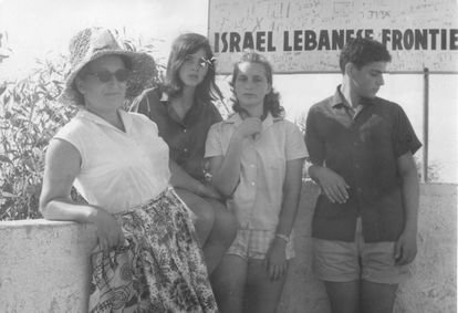 Alicia Fingerhut, second from left, with her mother, brother and a cousin on the Israeli-Lebanese border during their visit to a kibbutz.